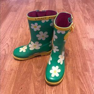 Other - Floral Rain Boots Size L 9/10 💕